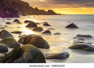 Utakleiv beach in Lofoten, Norway during sunrise