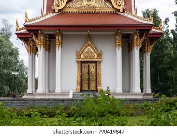 UTANEDE, SWEDEN ON JULY 22. View of the Thai pavilion, King Chulalongkorn Memorial Building on July 22, 2017 in Utanede, Sweden. Park and buildings.