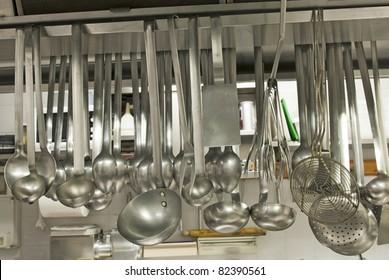 utensils in a kitchen restaurant