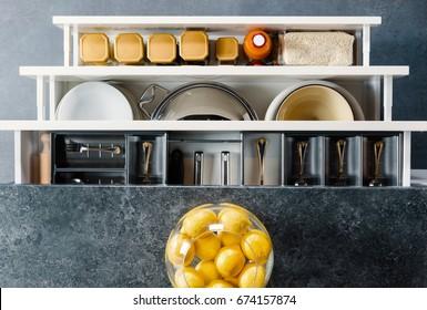 Utensils organized in kitchen drawers