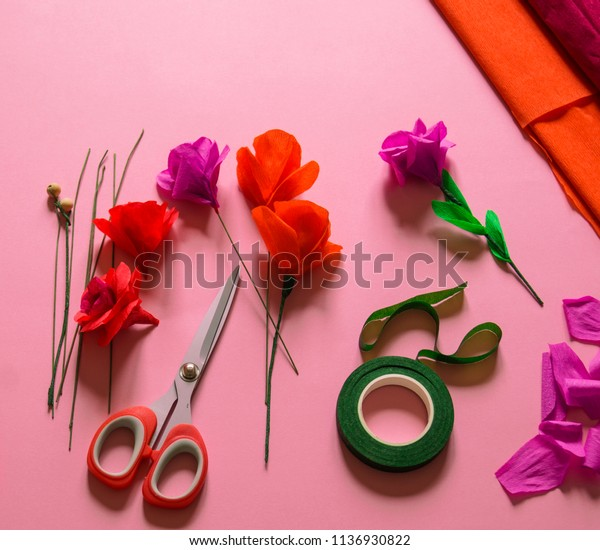 Utensils Tools Making Crepe Paper Flowers Stock Photo Edit Now