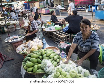 UTHAI THANI, THAILAND - FEBRUARY 17, 2017: Trading in market at walking street in Mueang Uthai Thani District, Uthai Thani, Thailand.