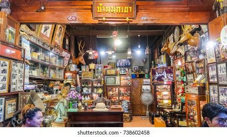 UTHAI THANI Thailand : September 30,2017 vintage souvenir shop open on weekend night market at Uthai Thani province of Thailand