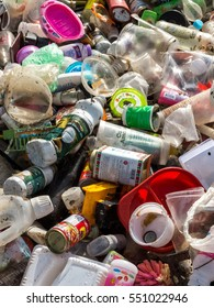 UTHAITANI PROVINCE, THAILAND-NOVEMBER 8 2016, Plastic and metallic waste from household in waste landfill. Recyclable waste in dump site