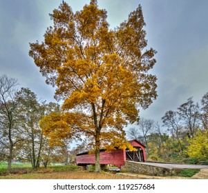 The Utica Mills covered bridge in Maryland during Autumn