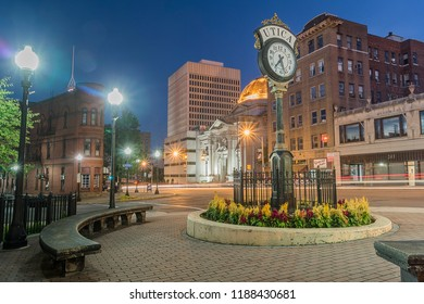 UTICA, NY, USA - SEP. 23, 2018: Historic Buildings in Lower Genesee Street Historic District in downtown Utica, New York State, USA. This area is a National Register of Historic Places.