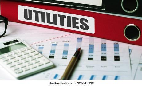 utilities concept on document folder