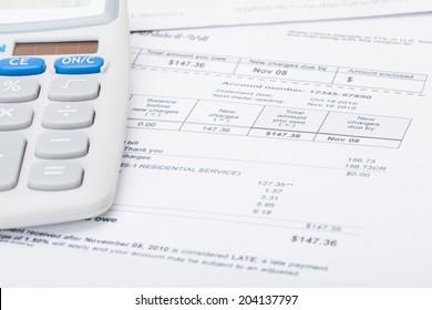 Utility bill and calculator