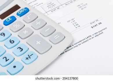 Utility bill with calculator