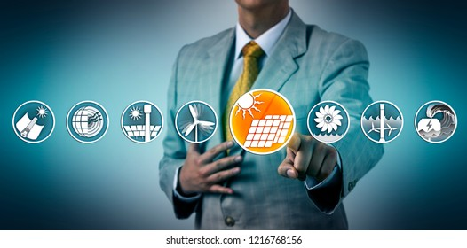 Utility executive selecting industrial scale solar photovoltaic power generation from a lineup of renewable resources sector icons. Industry and technology concept for solar panel, PV, module, wafer.