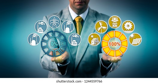 Utility manager phasing out fossil power generation, transitioning to one hundred percent renewable generated electricity. Industry and business concept for energy turn, Energiewende, sustainability.