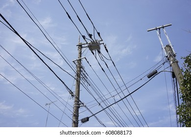 Utility pole with cable in Japan