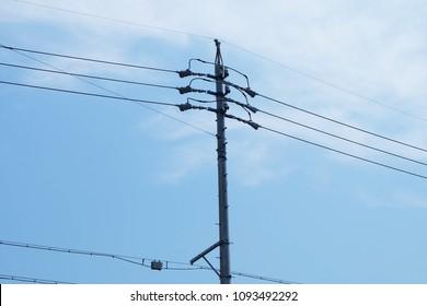 Utility pole at Hamamatsu Kotoaho in Japan. electricty post.