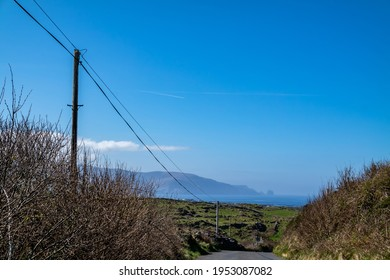 Utility Pole and lines for transmission of electricity and communication to dwellings in rural Ireland