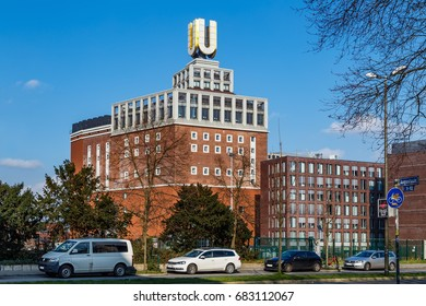 U-Tower, Germany - February, 2017: The U-Tower is a former brewery building in the city of Dortmund, Germany. Dortmunder U-Tower is a center for the arts and creativity and housing the Museum Ostwall.
