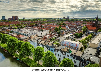 Utrecht city from top. General view from hight point at summer evening.