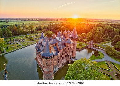 Utrecht - Holland, July 3, 2018: Aerial view of De Haar Castle in Dutch Kasteel de Haar is located in Utrecht Netherlands the current buildings all built upon the original castle, date from 1892
