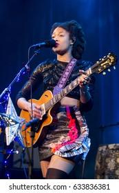 Utrecht, The Netherlands - 1 May 2017:  concert of American singer, songwriter, and multi-instrumentalist Valerie June at Tivoli Vredenburg in Utrecht