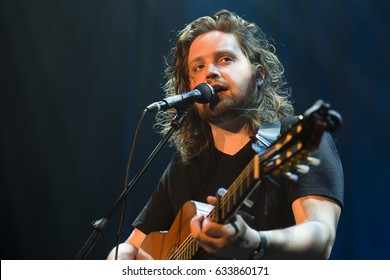 Utrecht, The Netherlands - 1 May 2017: First act with Will Varley Music before the concert of American singer, songwriter, and multi-instrumentalist Valerie June at Tivoli Vredenburg in Utrecht