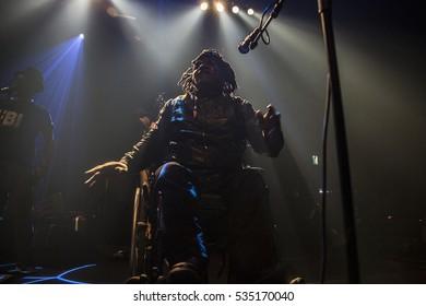 Utrecht, The Netherlands - 11 December 2016: Concert of Congolese band Mbongwana Star at Tivoli Vredenburg in Utrecht