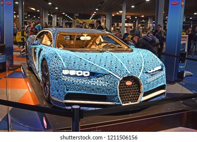 UTRECHT, The Netherlands - 19 OCTOBER 2018 - Visitors admire the life-size Bugatti Chiron by LEGO Technic during LEGO World at the Jaarbeurs in Utrecht.