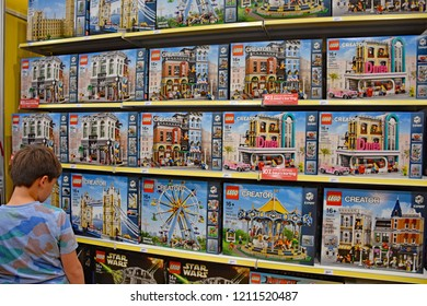UTRECHT, THE NETHERLANDS - 19 OCTOBER 2018 - People are looking at LEGO products in the LEGO bricks store during LEGO World in Utrecht.