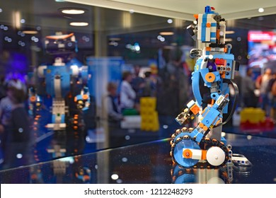 UTRECHT, THE NETHERLANDS, 19 OCTOBER 2018 - Visitors watching a LEGO Boost robot during LEGO World. During the LEGO fair, children can learn to program robots.