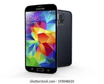 UTRECHT, THE NETHERLANDS, 24 FEBRUARY 2014 - Samsung Galaxy S5 smartphone, new flagship of Samsung.