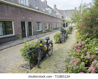 Utrecht, Netherlands, 7 september 2017: wulpstraat with small houses and bikes in centre of dutch town utrecht in the netherlands