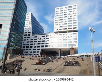 Utrecht, Netherlands - April, 18, 2019: stairway in the center of Utrecht. This stairway is one of the ways to go to the central station and the city office.