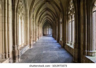 UTRECHT, NETHERLANDS - APRIL 9, 2017: Corridor of the Pandhof Domkerk in Utrecht, Netherlands