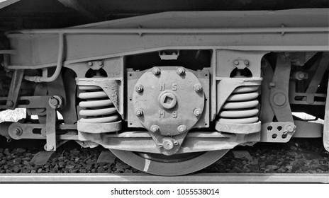Utrecht / Netherlands - August 14 2016: An old wheel of a Dutch NS diesel train in the railway museum (Spoorwegmuseum) in Utrecht in Holland