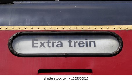 Utrecht / Netherlands - August 14 2016: An old destination display of a Dutch NS red diesel train in the railway museum (Spoorwegmuseum) in Utrecht in Holland. The text is 'Extra trein' (Extra Train)