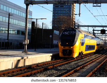 Utrecht, the Netherlands, February 15, 2019: A train (intercity) arriving at the platform at utrecht central station from the NS in the Netherlands