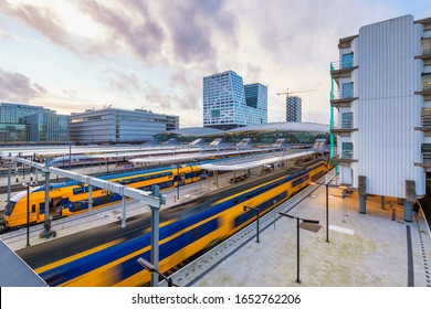Utrecht, Netherlands - February 19, 2020: Departing Train at Central Station of Utrecht, Netherlands. Being located in the center of the country Utrecht Central Station is a major transit hub.