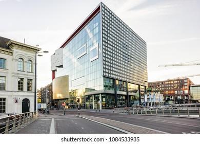 UTRECHT, NETHERLANDS - FEBRUARY 24, 2018: View of TivoliVredenburg building. TivoliVredenburg (2014) is a contemporary music complex located in Utrecht.