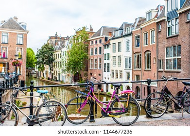 UTRECHT, NETHERLANDS - July 10, 2018: the Oudegracht (old canal) and the Vismarkt street are part of the historic center of Utrecht,  the fourth largest city in the Netherlands.