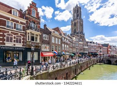 Utrecht, Netherlands - June 2018: Utrecht canals and Dom tower on a summer day