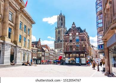 Utrecht, Netherlands - June 2018: Utrecht streets and Dom tower