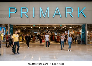 Utrecht Netherlands June 2019, shopping mall Hoog Catharijne on a bussy weekend day, Primark sign in forn of shopping store