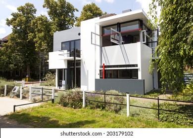UTRECHT, NETHERLANDS, JUNE 27 2014: eastern facade of rietveld schroder house in utrecht