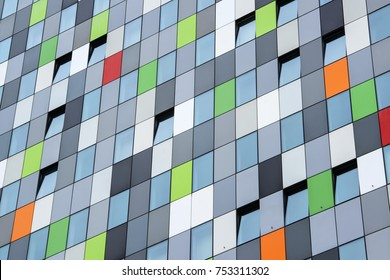 UTRECHT, NETHERLANDS - MARCH 29, 2014: Colorful building on the university campus of Utrecht ('De Uithof'). 'Casa Confetti' owes its name to the many colourful panels on the facade of the building.