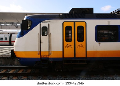 Utrecht, the Netherlands, March 8, 2019: White train or old school sprinter from the NS also called nederlandse spoorwegen