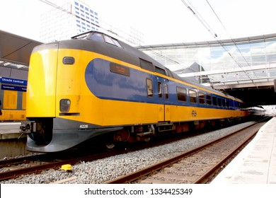 Utrecht, the Netherlands, March 8, 2019: yellow trains called intercity ready to depart from the NS also called nederlandse spoorwegen