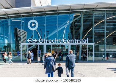 Utrecht, Netherlands - May 04, 2018: Entrance of Utrecht Centraal Railway Station