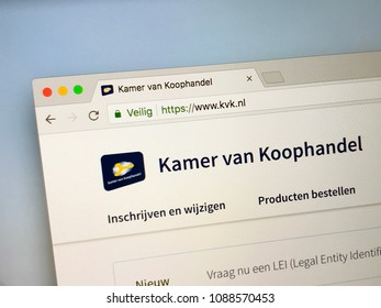 Utrecht, Netherlands - May 11, 2018: Official website of The Kamer van Koophandel (KvK), the Chamber of Commerce in the Netherlands.