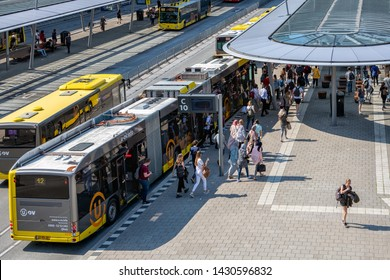 Utrecht, The Netherlands - May 15, 2018: Articulated city buses arriving and leaving at bus station near main railway station Utrecht