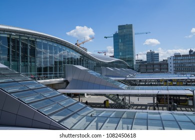 Utrecht, The Netherlands - May 2, 2018: Utrecht central bus and train station, Utrecht Centraal of the Dutch Railway system: Nederlandse Spoorwegen NS.