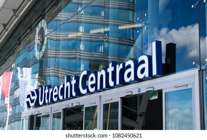 Utrecht, The Netherlands - May 2, 2018: Utrecht central train station (Utrecht Centraal) of the Dutch Railway system (Nederlandse Spoorwegen).