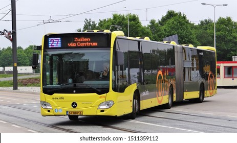 Utrecht / Netherlands - May 21 2019: A U-OV public transport articulated bus (type: Mercedes Benz Citaro C2) at bus line 27 near by the WKZ (hospital) of the city of Utrecht (Uithof / Science Park)